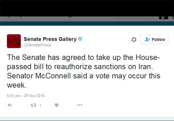 موافقت مجلس سنای آمریکا برای بررسی لایحه تمدید تحریمهای ایران/رویترز: انتظار میرود که کاخ سفید هم با این طرح موافقت کند/ لزوم واکنش غیر انفعالی ستاد پیگیری اجرای برجام