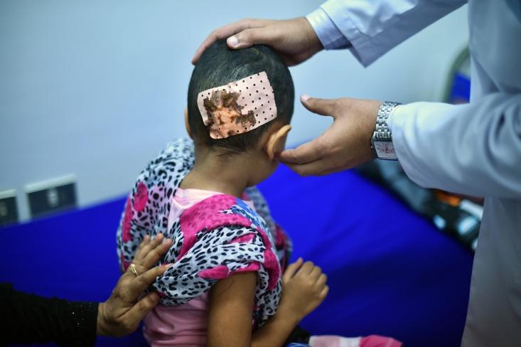کودک 7 ساله یمنی در حال درمان در جیبوتی