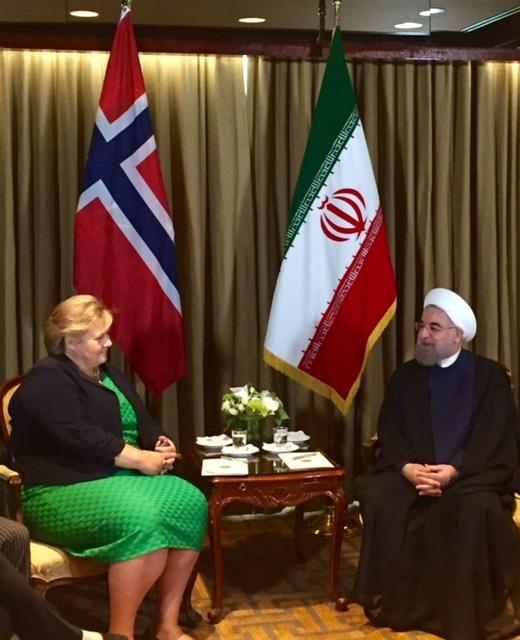 تصاویر پوشش نخست وزیر نروژ در دیدار با روحانی