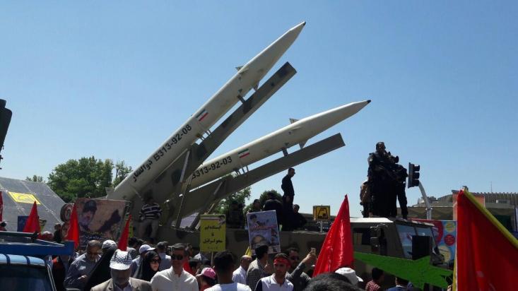 درجریان راهپیمایی روز جهانی قدس تهران، چند فروند از موشکهای سپاه و نیز روزشمار نابودی صهیونیسم به نمایش درآمد و مردم یک صدا شعار مرگ بر اسرائیل سر دادند.