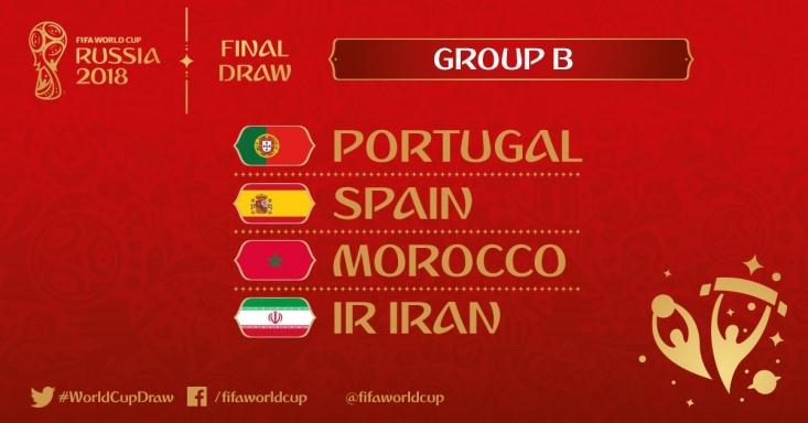 مراسم قرعهکشی جام جهانی ۲۰۱۸ فوتبال در کاخل کرملین آغاز شد و ایران در سخت ترین گروه با تیمهای ملی اسپانیا، پرتغال و مراکش در گروه B همگروه شد.بر این اساس تیم ملی کشورمان در اولین بازی خود 25 خردادماه سال 97 در سن پترزبورگ به مصاف مراکش خواهد رفت.
