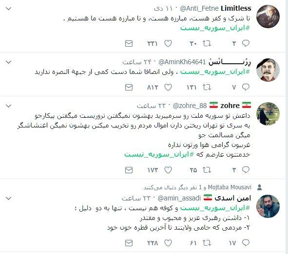 پویا اسدی از فعالان رسانه ای نوشت:  ایران  سوریه  نیست و مردمش هم اجازه نمیدن که هر کسی  تظاهرات  سراسری ضد امنیت ملیاش راه بندازه، مردم از وضع موجود اقتصادی گله مندند اما امنیتشون رو نمیزارن عده ای از بین ببرند.