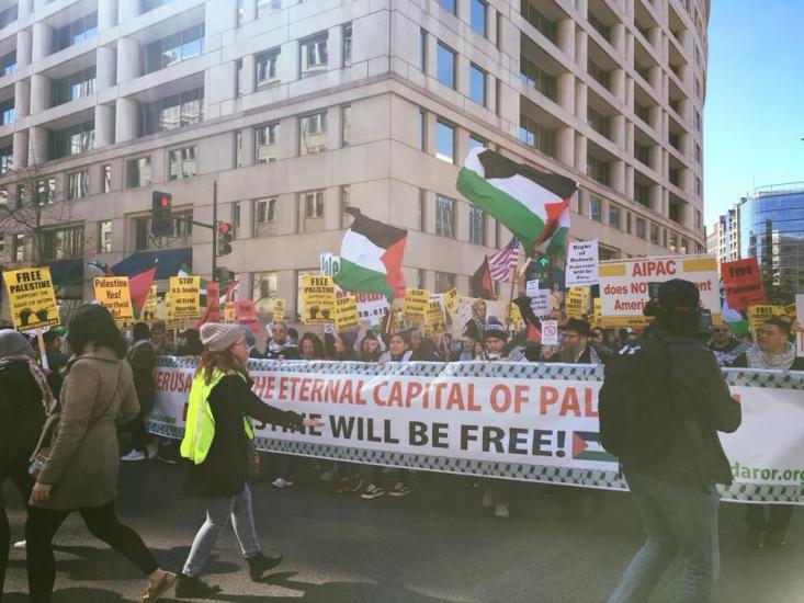 4 مارس ( 13 اسفندماه)  تظاهرات ضدصهیونیستی در واشنگتن دی سی برگزار شد.این تظاهرات را جنبش حق بازگشت فلسطینیان که سازمانی ثبت شده در کلیولند (اوهایو) می باشد برنامه ریزی کرده است و تعداد قابل توجهی از شخصیت های مهم ضد جنگ در آن حضور داشتند.