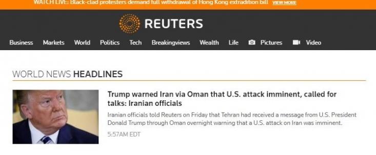 رسانههای خاص با تحریف این خبر از قریب الوقوع بودن حمله به ایران در صورت عدم مذاکره خبر دادند، در صورتی که در این خبر گفته شده که حمله قریبالوقوع «بود» و ترامپ اکنون هیچ تصمیمی برای حمله نظامی به مواضع ایران ندارد.