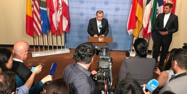 نماینده دائم ایران در سازمان ملل در جمع خبرنگارا ن گفت که واشنگتن به ماجراجویی نظامی علیه مردم ایران پایان دهد.