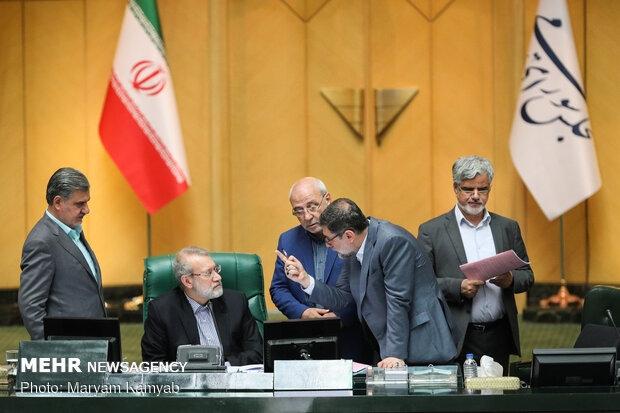 رئیس مجلس شورای اسلامی در واکنش به اعتراضات مخالفان طرح تشکیل وزارت بازرگانی، با عصبانیت شدید، مانع بیان اعتراضات شد.