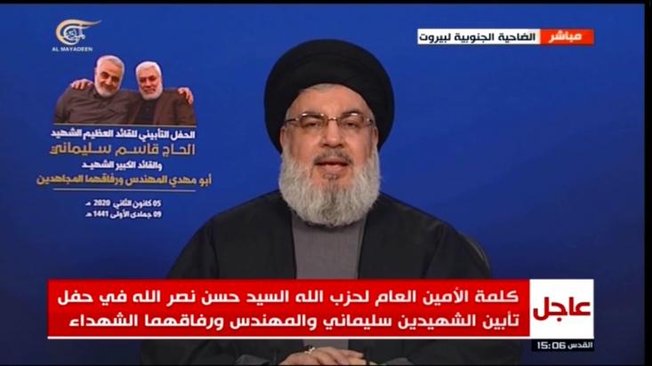 دبیرکل حزبالله  اعلام کرد: اسرائیل جرأت نکرد سردار سلیمانی را به شهادت برساند، به همین سبب به آمریکا روی آورد.