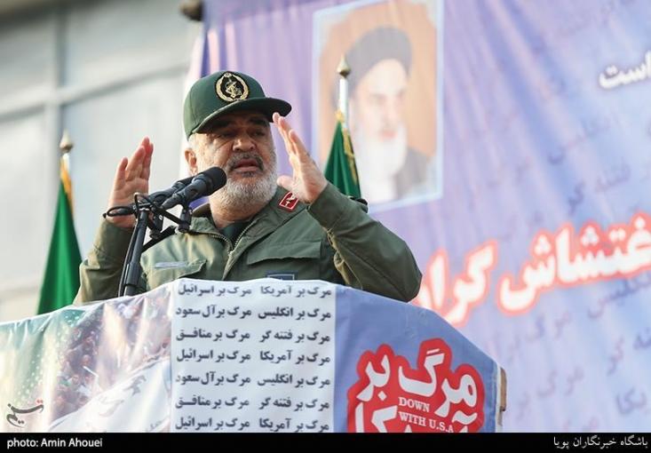 """فرمانده سپاه پاسداران انقلاب اسلامی  با هشدار اینکه """"اراده ما محکم است و انتقام میگیریم و اگر حرکت دیگری انجام دهند آنجا را که دوست دارند و به آن عشق میورزند بهآتش میکشیم"""" گفت: خود آنها میدانند آنجا کجاست."""