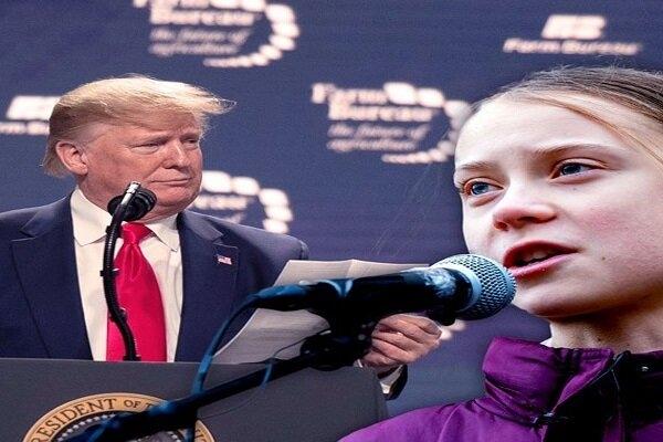 رئیس جمهور آمریکا که هفته گذشته به داووس سوئیس سفر کرده بود وقت خود را صرف کلنجار رفتن با دختر نوجوانی کرده که مدتی است تبدیل به چهره برتر فعالان محیط زیستی شده است.