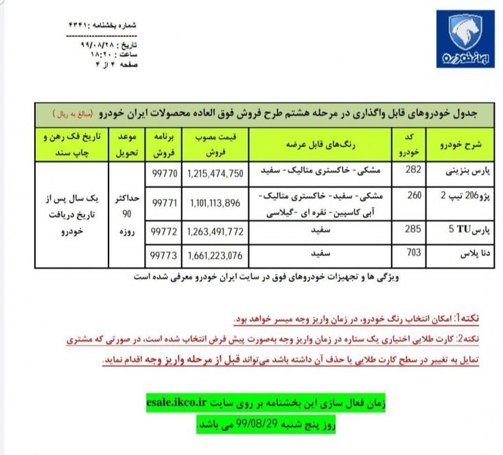 ایرانخودرو به منظور اجرای سیاستهای وزارت صمت مبنی بر افزایش عرضه خودرو به بازار، هشتمین مرحله فروش فوقالعاده محصولات خود را با عرضه 4 محصولاجرا می کند.